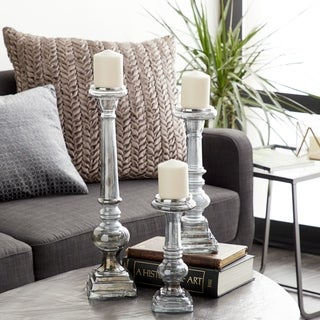 Set of 3 Modern 11, 15 and 21 Inch Clear Glass Baluster Candle Holders