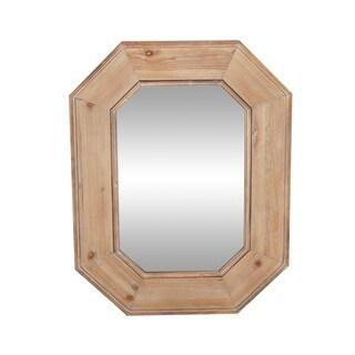 Rustic 41 x 31 Inch Brown Wood-Framed Hexagon Wall Mirror