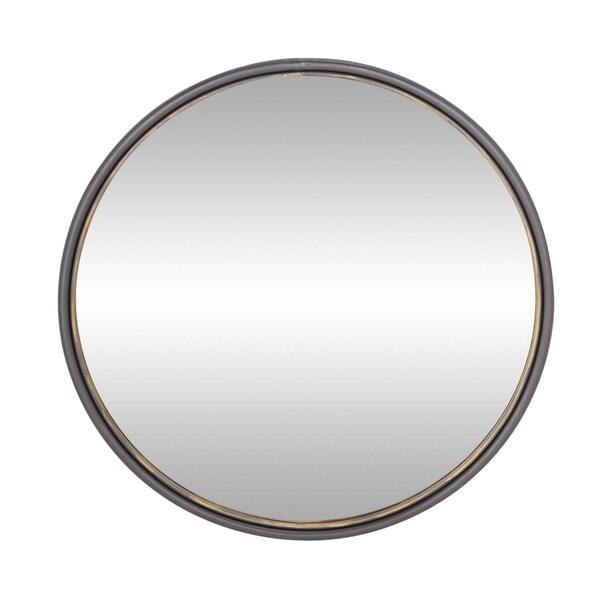 Shop Modern 35 Inch Round Black Iron Framed Wall Mirror By Studio