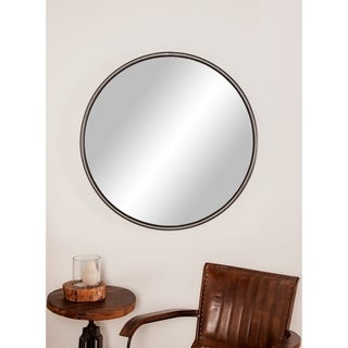 Modern 35 x 35 Inch Round Black Iron Framed Wall Mirror