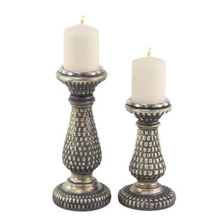 Set of 2 Traditional 12 and 9 Inch Glass Candle Holders