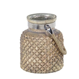 Coastal 9 x 7 Inch Glass and Steel  Candle Lantern with Rope Handle