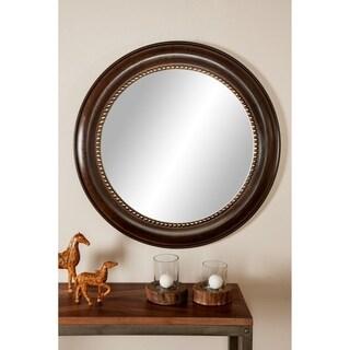 Industrial 36 x 36 Inch Round Wooden Mirror Frame - Brown