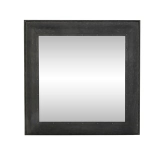 Farmhouse 36 x 36 Inch Square Gray Framed Wall Mirror - Grey