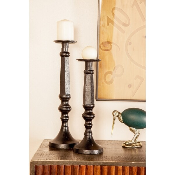 Set of 3 Traditional 12, 15 and 18 Inch Black Iron Candle Holders