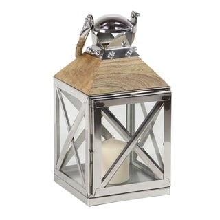 Traditional 16 x 8 Inch Wood and Metal Candle Lantern