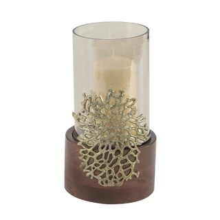 Coastal 12 x 6 Inch Wood, Glass and Metal Coral Candle Holder