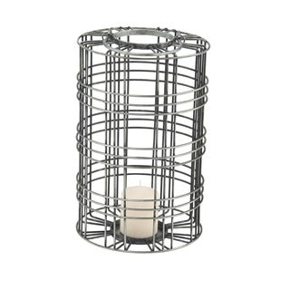 Farmhouse 16 x 10 Inch Cylindrical Gray Iron Wire Cage Candle Lantern