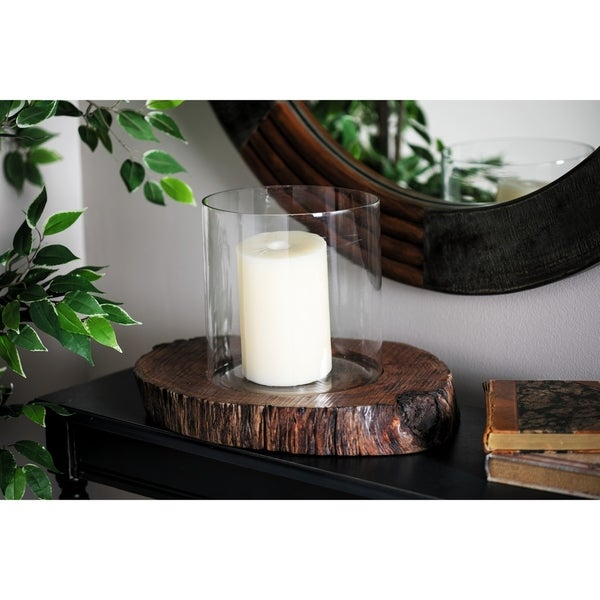Rustic 10 x 11 Inch Glass Hurricane Candle Holder with Wooden Base
