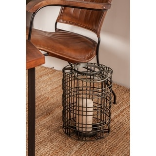 Farmhouse 17 x 9 Inch Cylindrical Gray Iron Wire Cage Candle Lantern