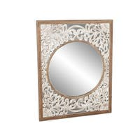 Contemporary 42 x 32 Inch Rectangular Wooden Framed Wall Mirror - Brown