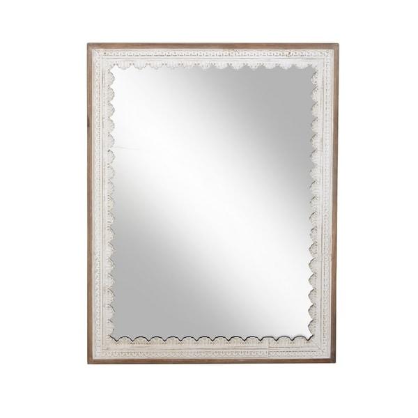 Modern 48 X 36 Inch Rectangular Wooden Framed Wall Mirror Brown