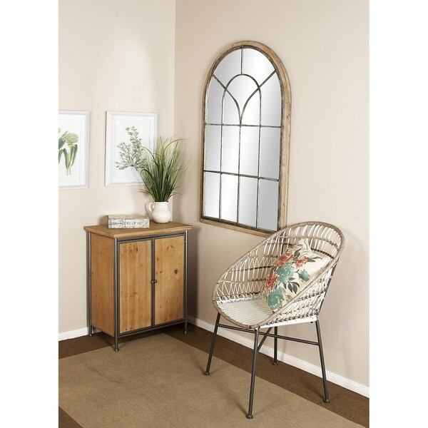 Rustic 51 x 33 Inch Arched Windowpane Wall Mirror by Studio 350 - Brown
