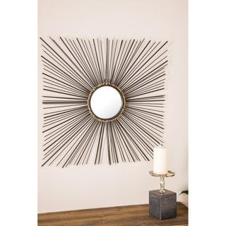 Modern 28 x 28 Inch Iron Square Sunburst Wall Mirror by Studio 350 - Black/Gold