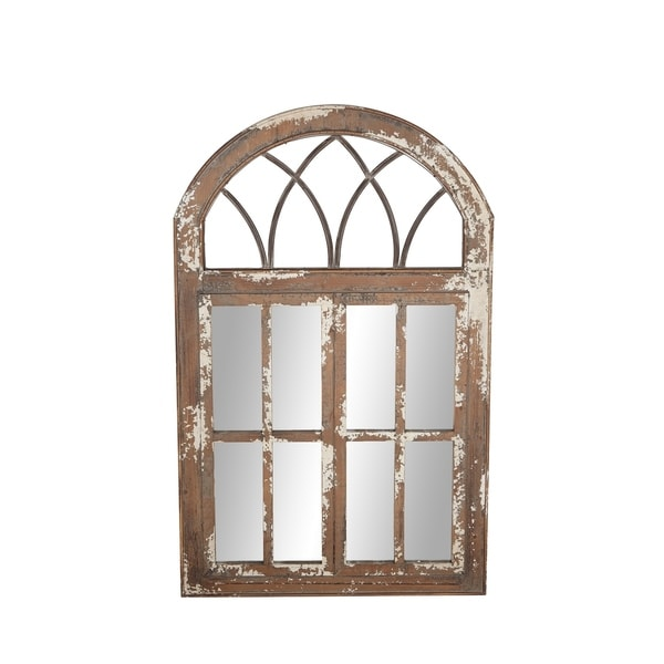 Farmhouse 48 X 30 Inch Iron And Wood Windowpane Wall Mirror Brown