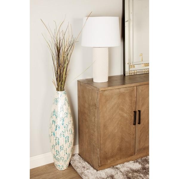 Modern 34 x 11 Inch Shell Inlaid Vase
