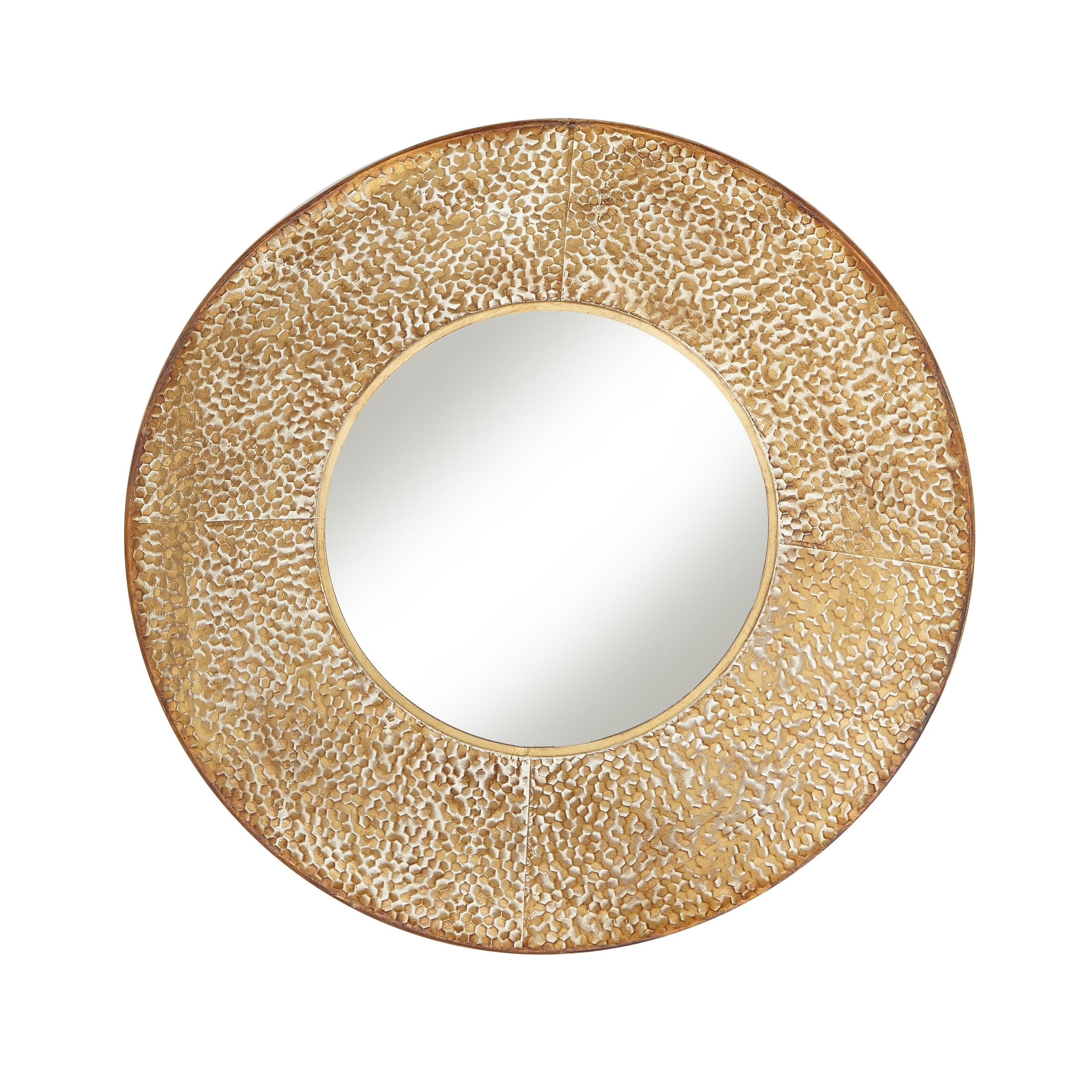 Shop Modern 32 x 32 Inch Round Wood and Iron Framed Wall Mirror ...
