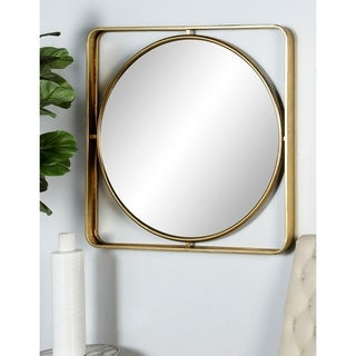 Modern 34 x 34 Inch Gold Wood and Iron Framed Wall Mirror