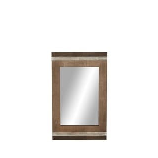 Modern 43 x 27 Inch Rectangular Wooden Wall Mirror - Brown