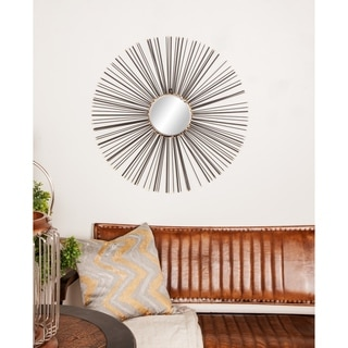 Contemporary 30 Inch Black Iron Sunburst Wall Mirror by Studio 350 - Black/Gold