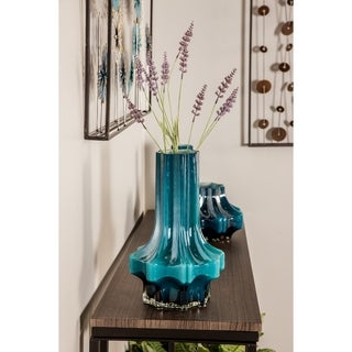Contemporary 14 x 8 Inch Blue Faceted Glass Vase