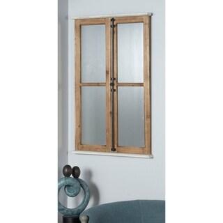 Farmhouse 40 Inch Rectangular Windowpane Wall Mirror by Studio 350 - Brown