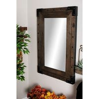 Modern 41 x 27 Inch Rectangular Wooden Wall Mirror - Brown