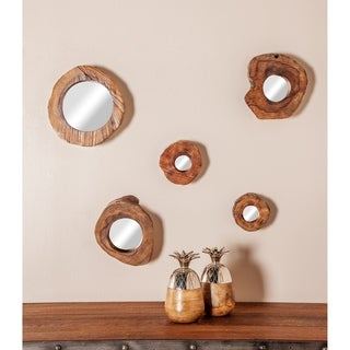 Set of 5 Natural 5, 6, 8, 9, and 11 Inch Brown Framed Wall Mirrors