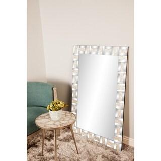 Contemporary 47 x 31 Inch Rectangular Wood Framed Wall Mirror - Silver