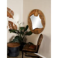 Natural 36 Inch Round Brown Wood Framed Wall Mirror