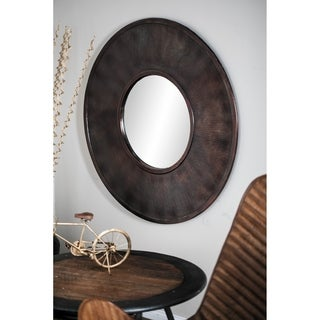 Rustic 36 Inch Round Aluminum Wall Mirror by Studio 350 - Brown