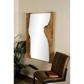 Natural 48 x 36 Inch Rectangular Brown Wall Mirror