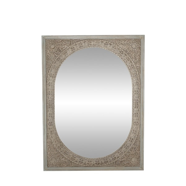 Shop Rustic 48 X 36 Inch Rectangular Framed Wall Mirror Brown