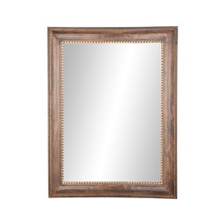 Traditional 48 x 36 Inch Rectangular Dark Brown Framed Wall Mirror