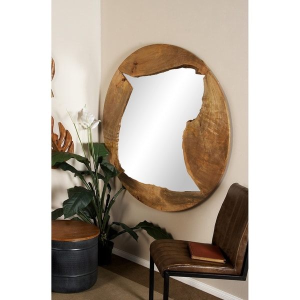 Natural 48 Inch Round Brown Wooden Framed Wall Mirror by Studio 350