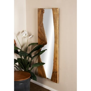 Natural 60 x 21 Inch Rectangular Brown Wall Mirror