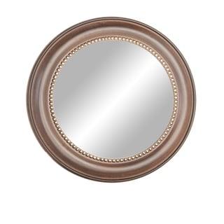 Industrial 32 x 32 Inch Round Wooden Mirror Frame - Brown