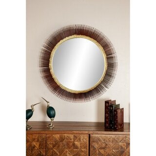 Modern 36 x 36 Inch Round Iron Framed Wall Mirror - Black