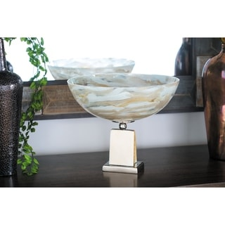 Contemporary 12 x 14 Inch Decorative Bowl with Aluminum Base