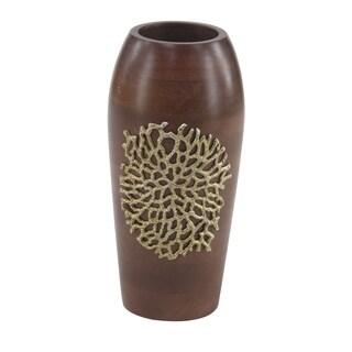 Coastal 15 x 7 Inch Brown Wooden Decorative Vase