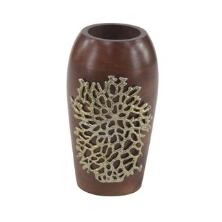Coastal 10 x 6 Inch Brown Wooden Decorative Vase