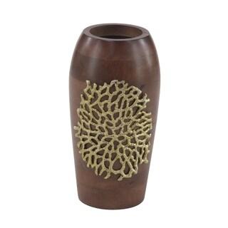 Coastal 12 x 7 Inch Brown Wooden Decorative Vase