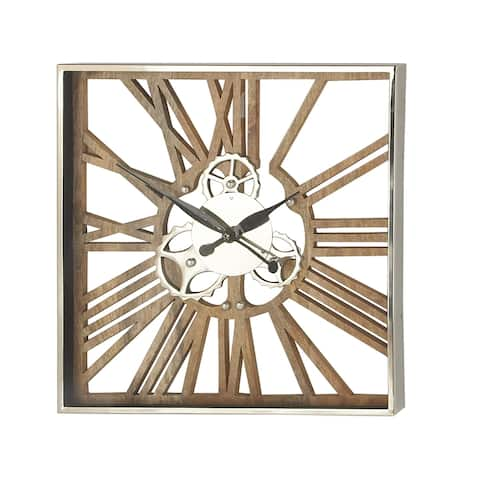 Industrial 24 x 24 Inch Square Gear Wall Clock
