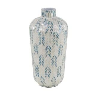 Modern 20 x 10 Inch Shell Inlaid Vase