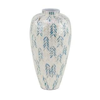 Modern 21 x 11 Inch Shell Inlaid Vase