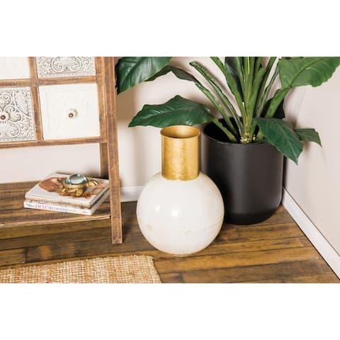 "Modern Style Extra Large Round Gold & White Metal Vase 11"" x 17"""