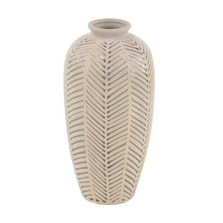 Natural 15 x 7 Inch Light Brown Stoneware Decorative Vase