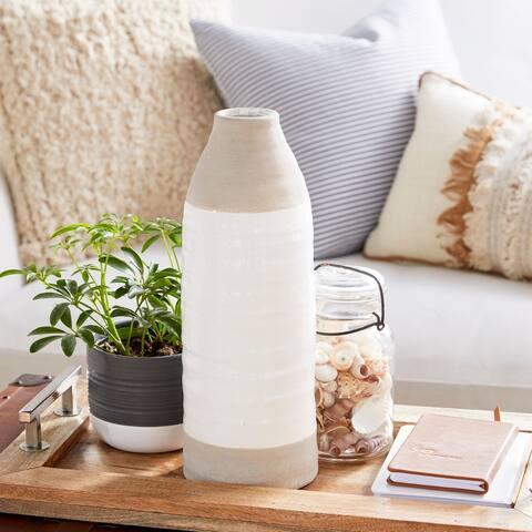 Modern 14 x 5 Inch Bottle-Shaped Stoneware Vase
