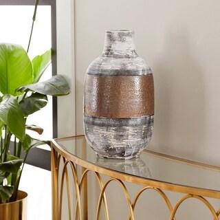 Eclectic 15 x 8 Inch White Stoneware Decorative Vase