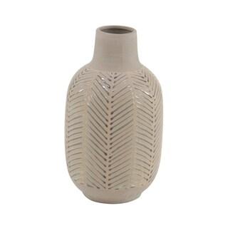 Natural 15 x 8 Inch Brown Stoneware Decorative Vase